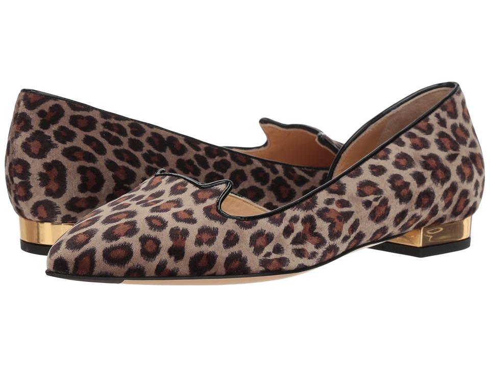 Charlotte Olympia Feline D'Orsay (Leopard Print/Black/Gold) Women's Shoes