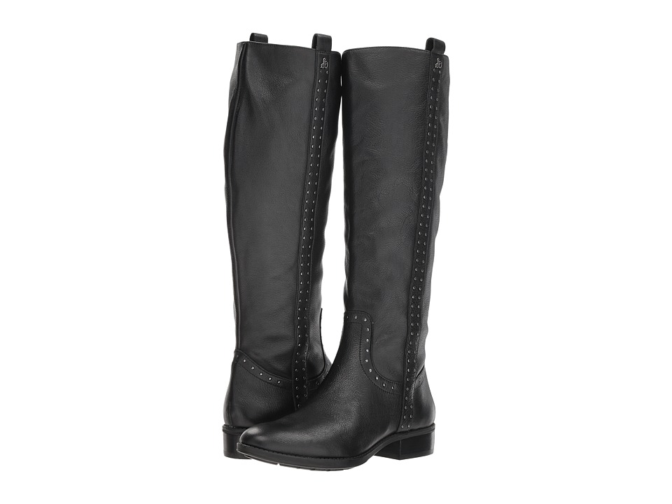 Sam Edelman Prina Leather Tall Boot (Black Neymar Leather) Women's Shoes