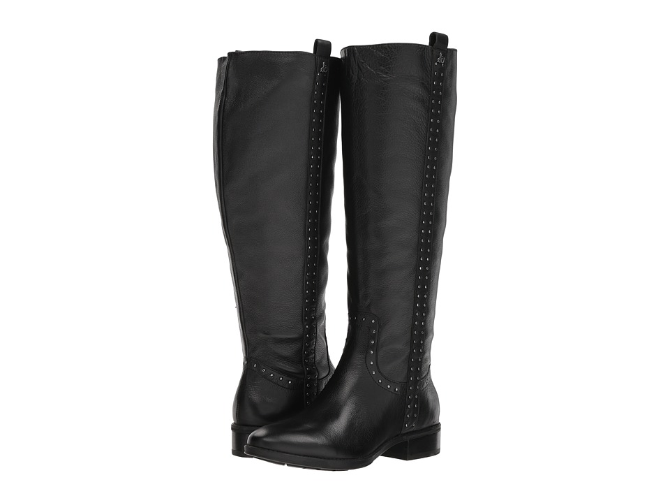 Sam Edelman Prina Wide Calf Leather Tall Boot (Black Neymar Leather) Women's Shoes