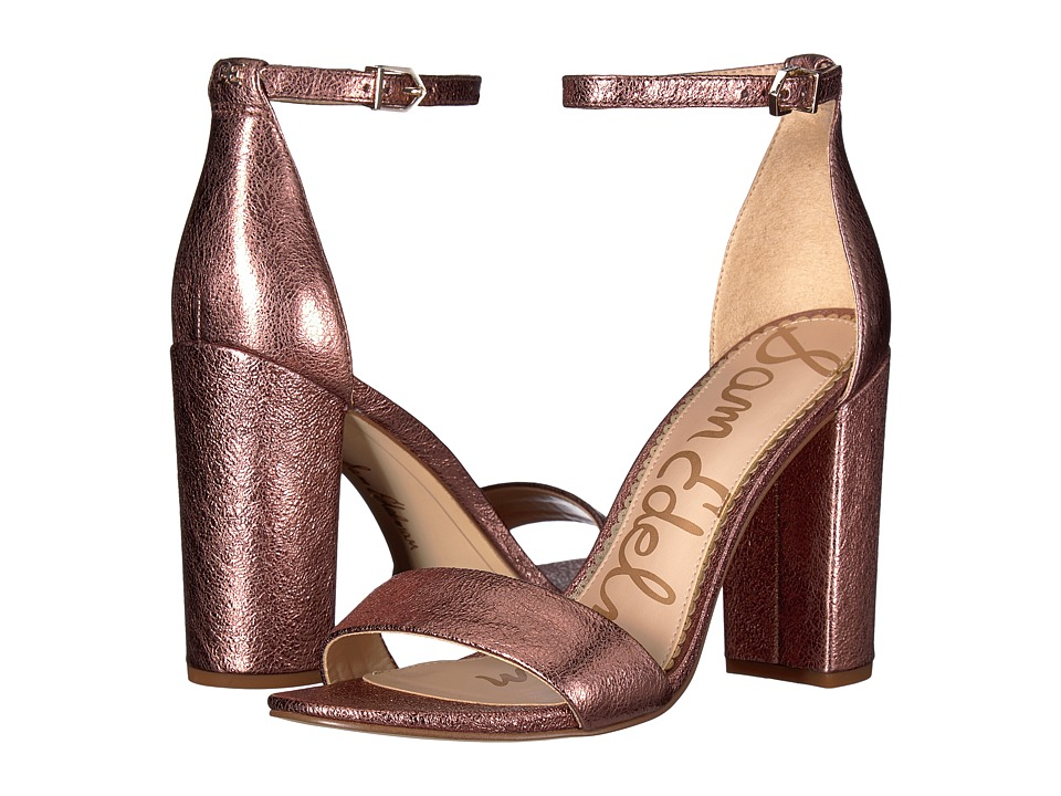 Sam Edelman Yaro Ankle Strap Sandal Heel (Cameo Pink Soft Crinkle Metallic Leather/Kid Suede Leather) Women's Dress Sandals