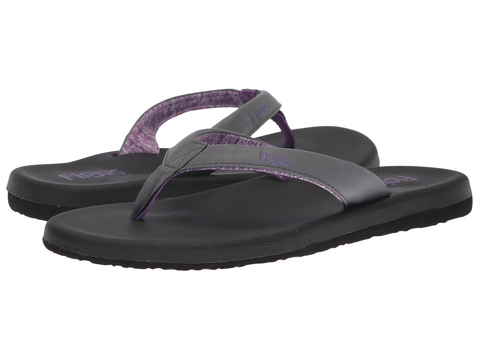 Flojos Jersey (Charcoal/Purple) Women's Toe Open Shoes