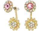Betsey Johnson Betsey Johnson Blue by Betsey Johnson Pink and Gold Tone Front Back Flower Earrings