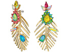 Betsey Johnson Betsey Johnson Gold Leaf Mismatch Drop Earrings