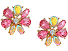 Betsey Johnson Pink and Gold Flower Statement Stud Earrings