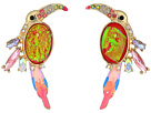 Betsey Johnson Betsey Johnson Pink and Gold Toucan Button Earrings