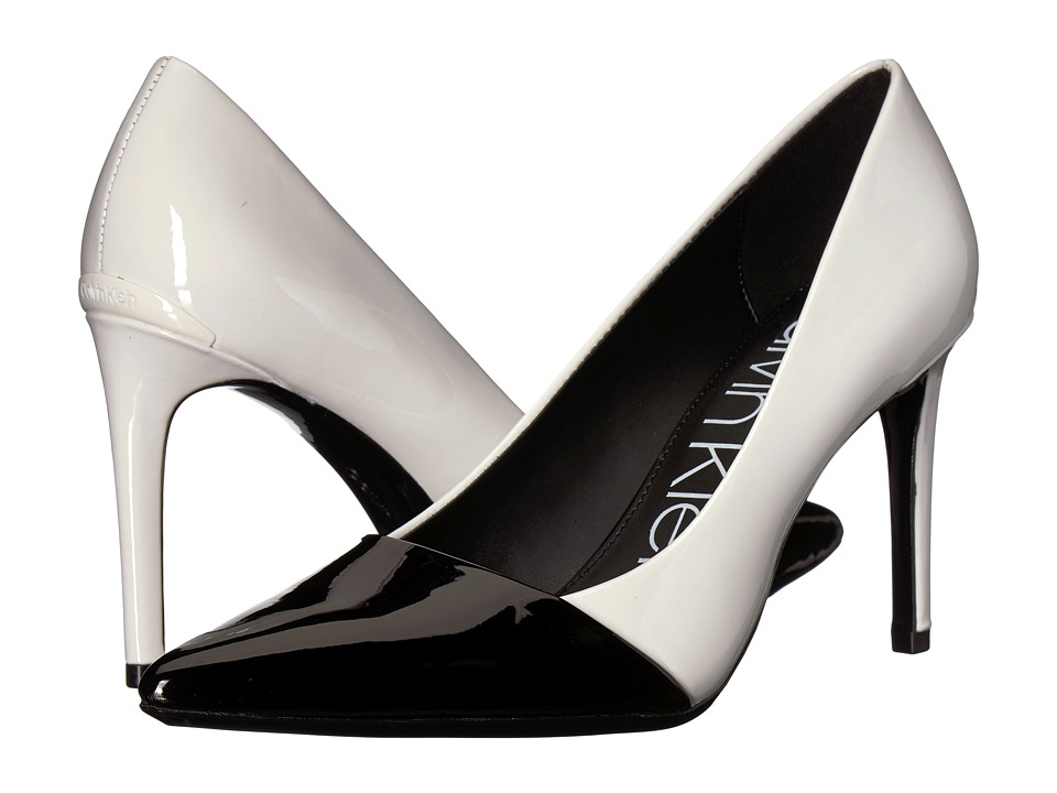 Calvin Klein Roslyn (Platinum White/Black Patent Smooth/Patent) Sandals