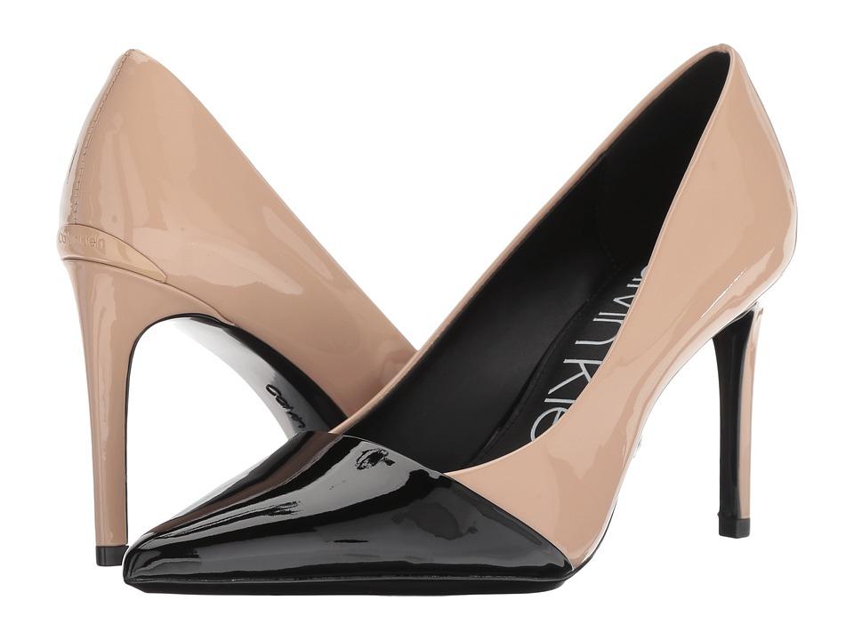 Calvin Klein Roslyn (Desert Sand/Black Patent Smooth/Patent) Sandals