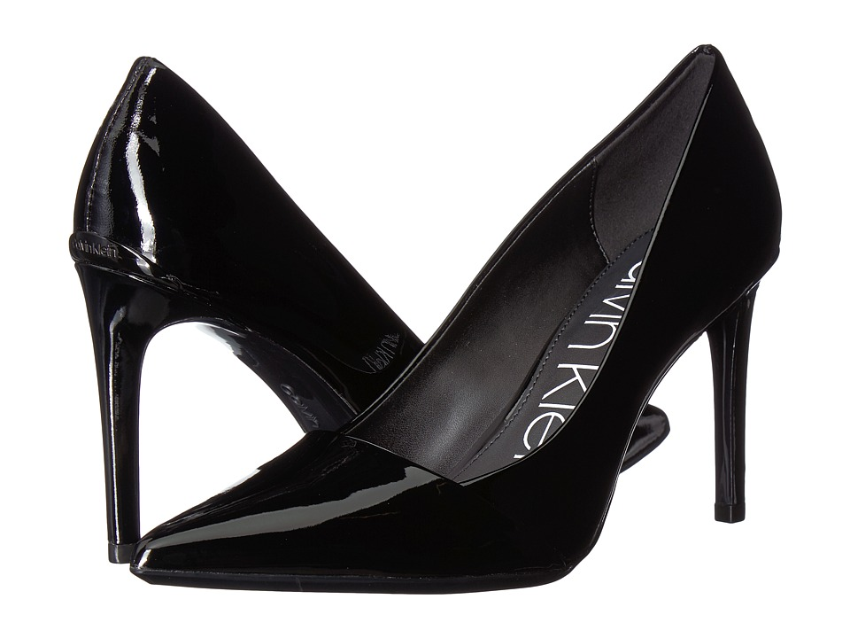 Calvin Klein Roslyn (Black/Black Patent Smooth/Patent) Sandals