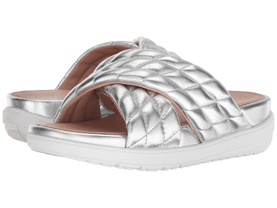 FitFlop Loosh Luxetm Cross Slide Leather Sandals (Silver Metallic Leather) Women's Shoes