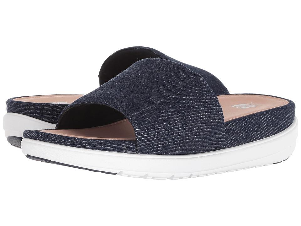 FitFlop Loosh Luxetm Slide Sandals (Dark Blue Denim) Women's Shoes
