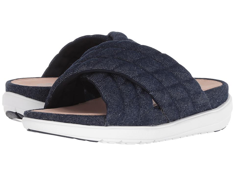 FitFlop Loosh Luxetm Cross Slide Leather Sandals (Dark Blue Denim) Women's Shoes