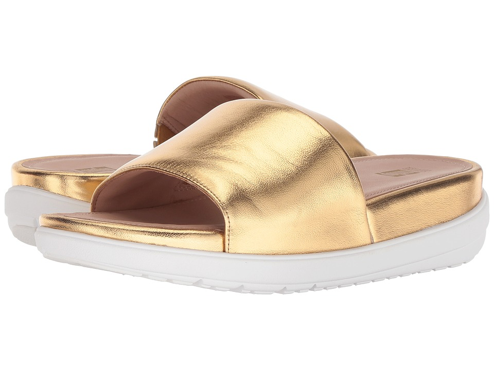 FitFlop Loosh Luxetm Leather Slide Sandals (Gold Metallic Leather) Women's Shoes