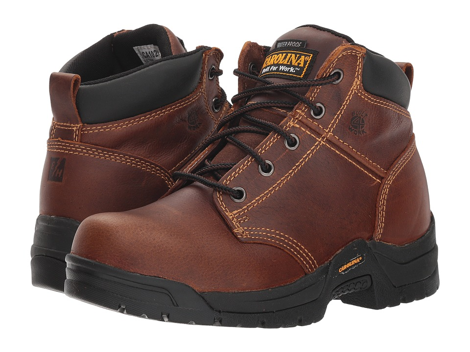 Carolina Reagan Mid Soft Toe (Brown) Women's Work Lace-up Boots