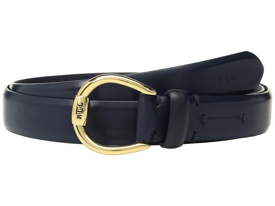 LAUREN Ralph Lauren 1 Bennington Equestrian Belt on Smooth Strap (Navy) Women