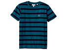 Lacoste Kids Short Sleeve Heathered Stripe Crew Neck Tee Shirt (Toddler/Little Kids/Big Kids)