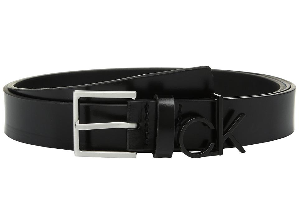 Calvin Klein 30mm Flat Strap (Black/Brushed Nickel) Women