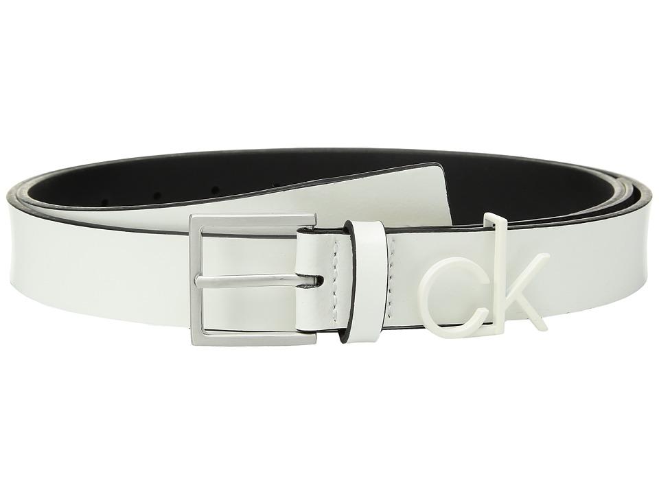 Calvin Klein 30mm Flat Strap (White/Brushed Nickel) Women