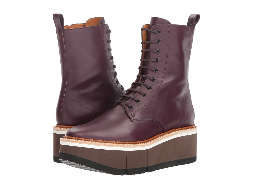 Clergerie Berenice (Aubergine Leather Calf) Women's Lace-up Boots