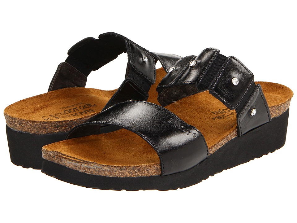 Naot Footwear Ashley Black Madras Leather Womens Sandals
