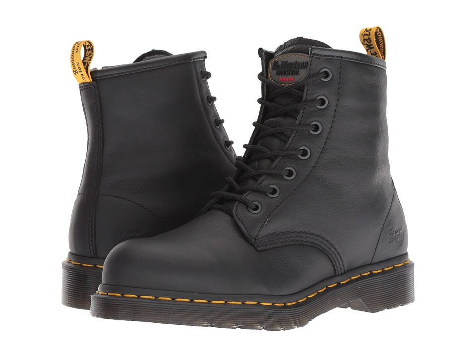 Dr. Martens Work Maple Steel Toe Zip (Black Newark) Women's Work Boots