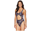 MICHAEL Michael Kors Scattered Blooms One-Piece Swimsuit w/ Tie Front Removable Soft Cups