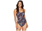 MICHAEL Michael Kors Scattered Blooms One-Piece Swimsuit w/ High Leg Ruffles Removable Soft Cups