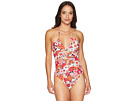 MICHAEL Michael Kors Cherry Summer Flower Shirred Keyhole Halter One-Piece w/ Removable Soft Cups