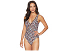 MICHAEL Michael Kors Mini Cherry Blossoms Deep V One-Piece w/ Ladder Insert Removable Soft Cups