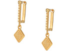Rebecca Minkoff Simple Huggie Earrings with Etched Charm