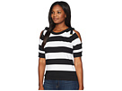 LAUREN Ralph Lauren LAUREN Ralph Lauren Striped French Terry Cold-Shoulder Top