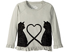 Chaser Kids Soft Vintage Jersey Velvet Cats Peplum Tee (Little Kids/Big Kids)