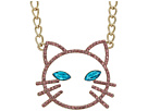 Betsey Johnson Pink Stone Open Cat Face Pendant Necklace