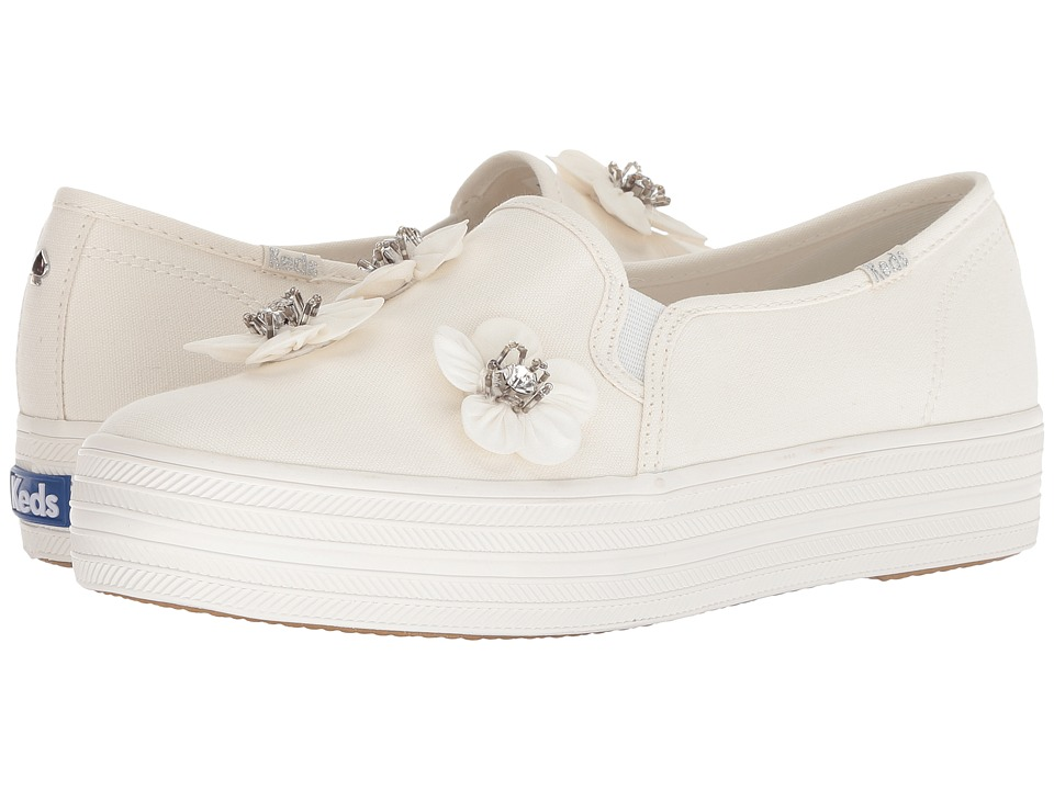 Keds x kate spade new york Bridal Triple Decker Sequin Flowers (Bright White Canvas) Women's Shoes