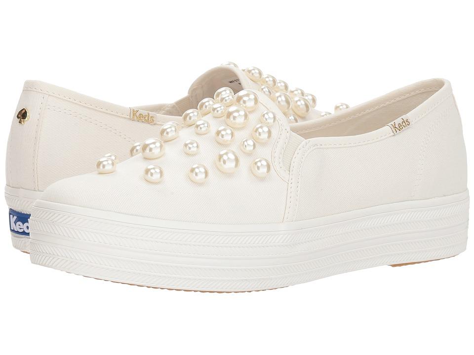 Keds x kate spade new york Bridal Triple Decker Pearl Studs (Pristine Twill/Pearls) Women's Shoes