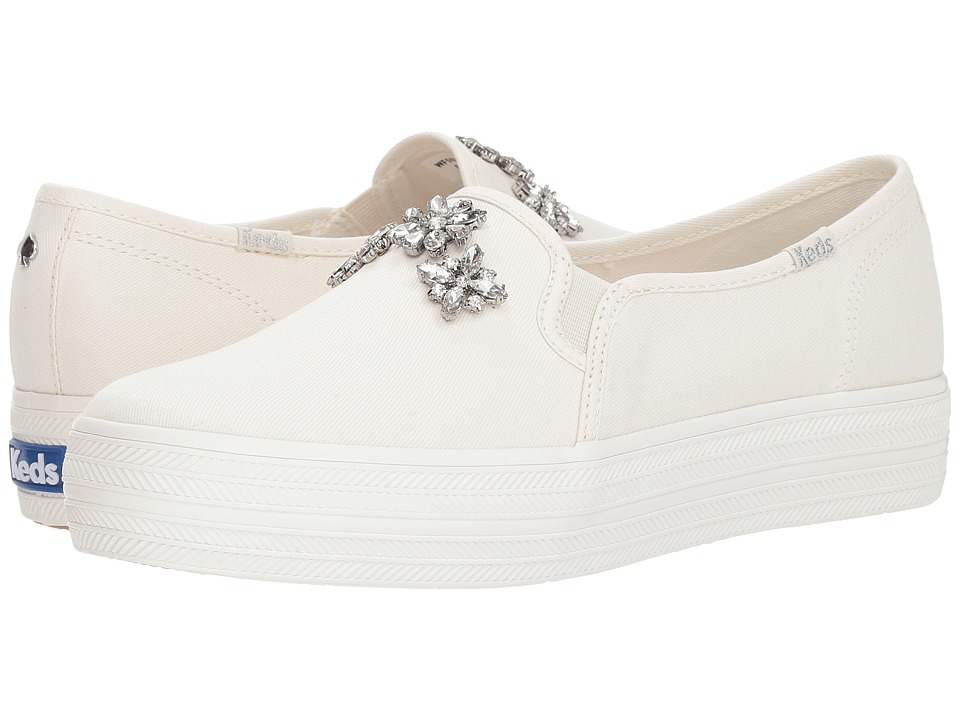 Keds x kate spade new york Bridal Triple Decker Stone Embellishment (Cream Canvas) Women's Shoes