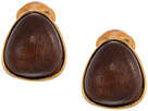 Kenneth Jay Lane Gold with Natural Wood Cabochon Nugget Clip Earrings