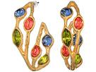 Kenneth Jay Lane Small Polished Gold/Multi Pastel Teardrops Hoop Pierced Earrings