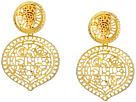 Kenneth Jay Lane Satin Gold Filagree Drop Clip Earrings