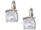 Kenneth Jay Lane Silver Eurowire/Crystal 12mm Faceted Square Stone Earrings