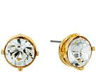 Kenneth Jay Lane Gold Setting 12mm Round Crystal Stone Pierced Earrings