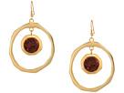 Kenneth Jay Lane Large Satin Gold Hoop/Topaz Center Drop Fishhook Earrings