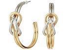 Kenneth Jay Lane Gold and Silver Knotted Hoop Post Earrings