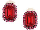 Kenneth Jay Lane Gunmetal/Pink/Ruby Center Rectangle Clip Earrings