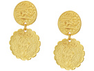Kenneth Jay Lane Satin Gold Textured Coin Top Drop Pierced Earrings
