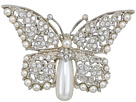 Kenneth Jay Lane Silver/Crystal/Pearl Body Butterfly Pin