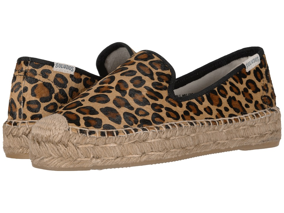 Soludos Haircalf Platform Smoking Slipper (Leopard) Women's Shoes