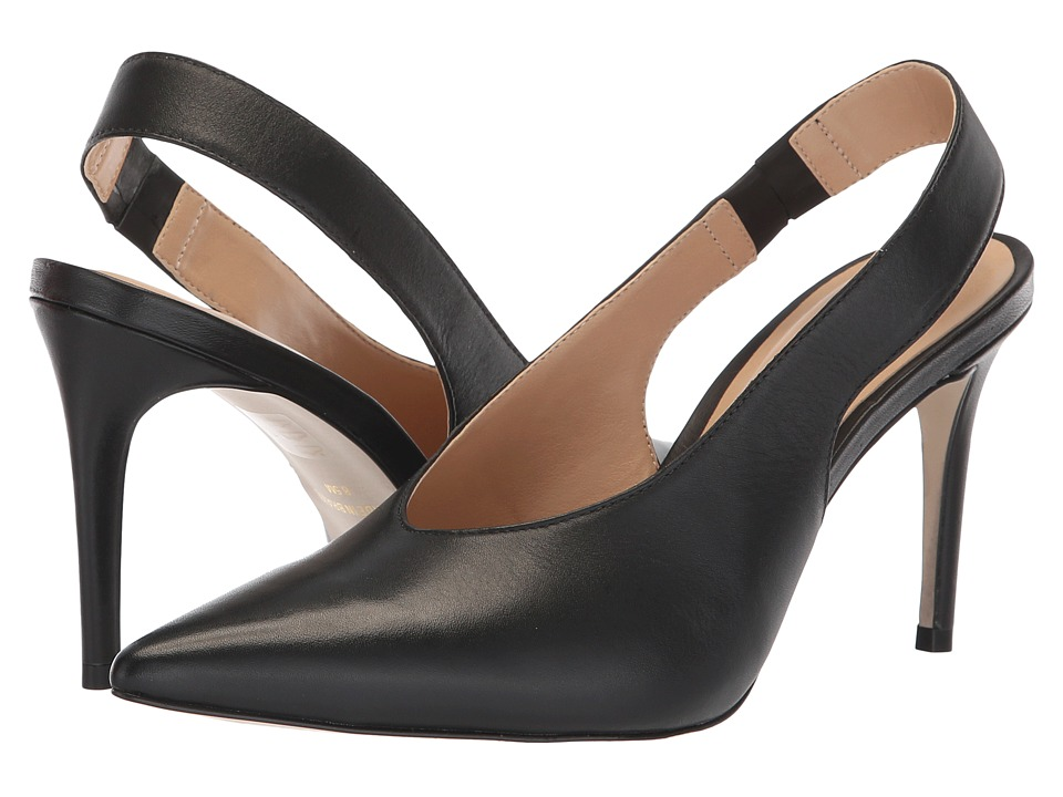 Massimo Matteo Pointy Toe Back Strap (Black Leather) 1-2 inch heel Shoes