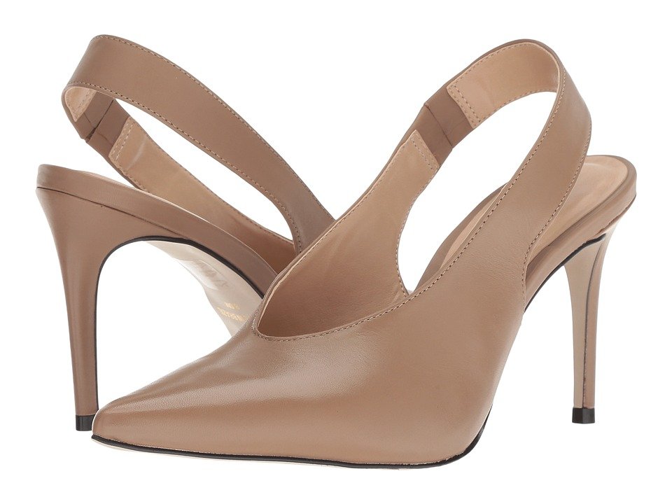 Massimo Matteo Pointy Toe Back Strap (Tan Leather) 1-2 inch heel Shoes