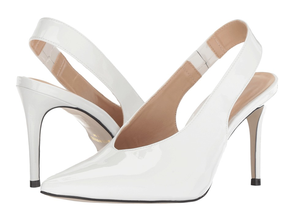Massimo Matteo Pointy Toe Back Strap (White Patent) 1-2 inch heel Shoes