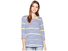 FDJ French Dressing Jeans FDJ French Dressing Jeans Multi Striped Notched Collar 3/4 Sleeve Top
